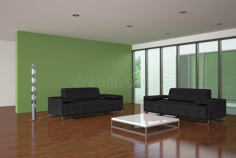 Moderne Woonkamer Met Groene Muur Stock Illustratie - Illustratie ...