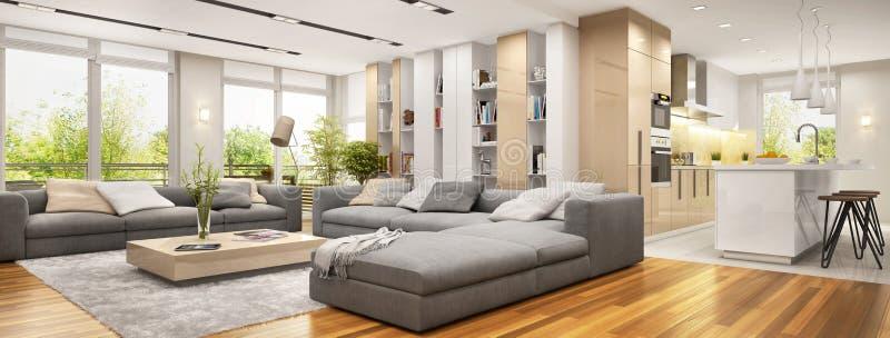 Moderne woonkamer met grote banken en moderne keuken stock foto's