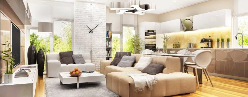 Moderne woonkamer met grote vensters en moderne keuken stock foto