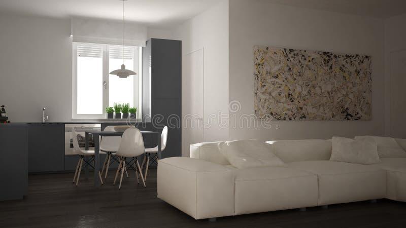 Moderne woonkamer met keuken in een comfortabele open plekflat, wit en grijs architectuur binnenlands ontwerp stock foto's
