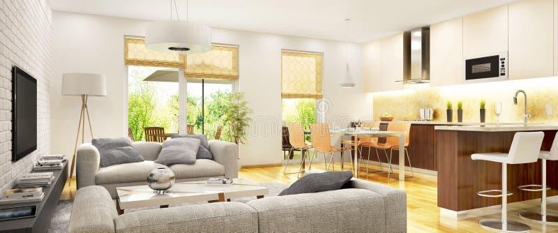 Moderne woonkamer met keuken in ??n ruimte stock afbeeldingen