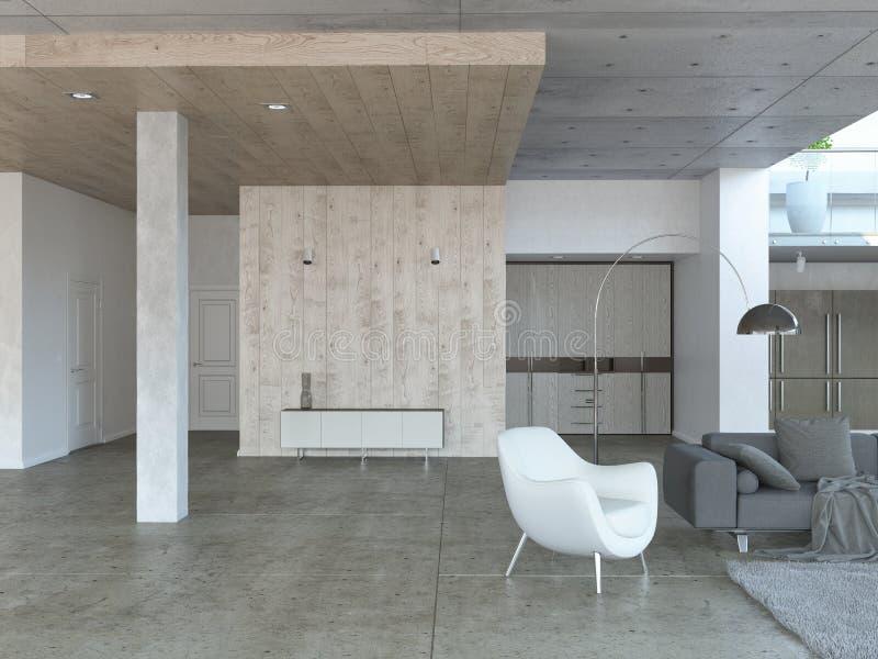 Moderne woonkamer met leunstoel stock illustratie