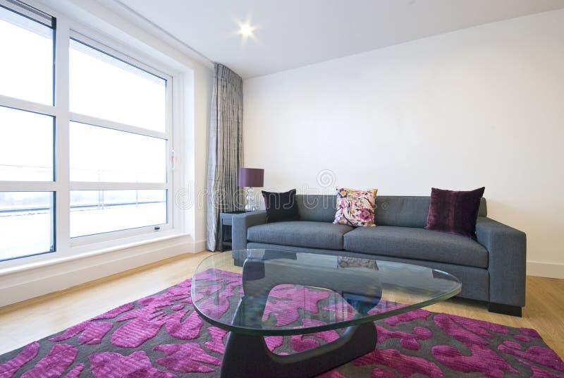 Moderne woonkamer met ontwerpermeubilair royalty-vrije stock fotografie