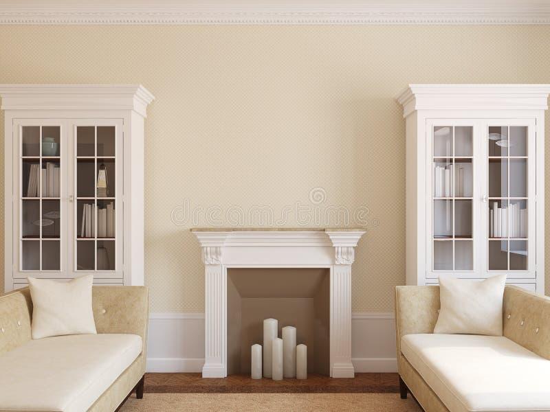 Moderne woonkamer met open haard. royalty-vrije illustratie