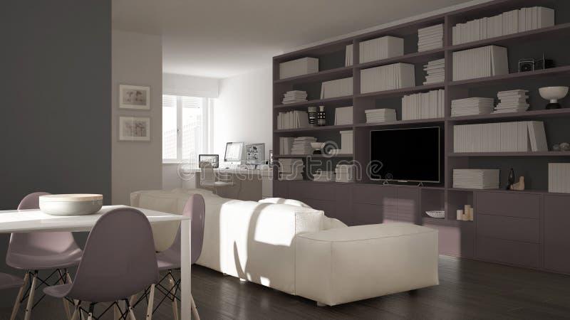Moderne woonkamer met werkplaatshoek, grote boekenrek en eettafel, minimaal wit en blauw architectuurbinnenland vector illustratie