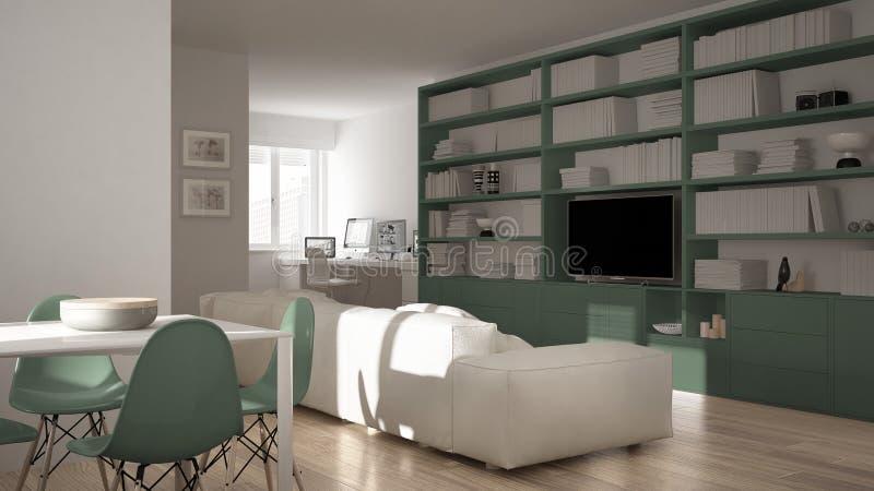 Moderne woonkamer met werkplaatshoek, grote boekenrek en eettafel, minimaal wit een groen architectuurbinnenland stock foto