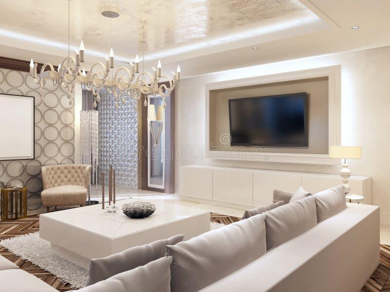Moderne woonkamer in witte kleuren met geïntegreerde opslag voor t stock afbeeldingen