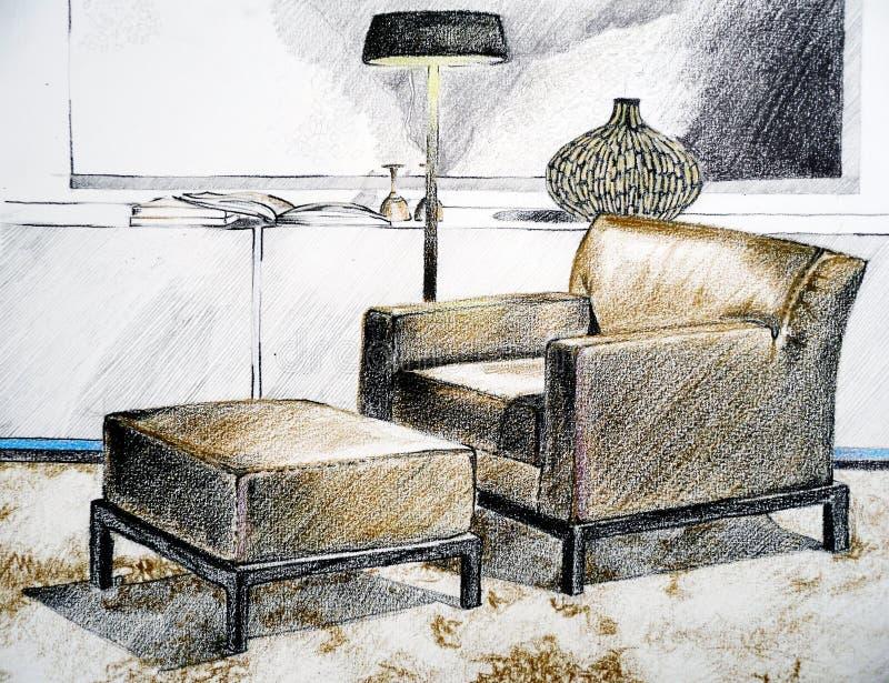 Moderne woonkamerschets royalty-vrije illustratie