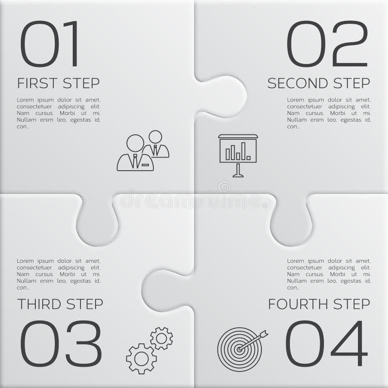Moderne zaken infographic voor uw presentatie Vier stappen aan succes De stukken van het raadsel Vector royalty-vrije illustratie