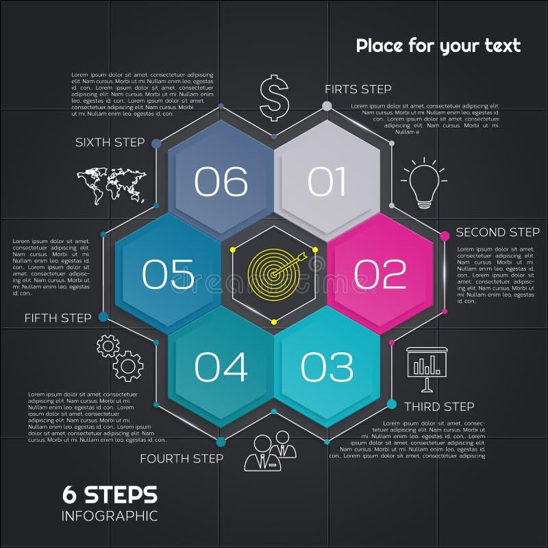 Moderne Zeitachse Infographic Diagramm-Diagramm Design mit sechs Hexagonen für Darstellung Vektor vektor abbildung