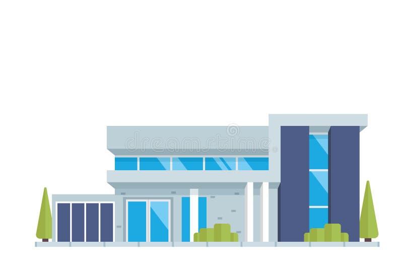 Moderne zeitgenössische Wohnungsbau-Luxusillustration vektor abbildung