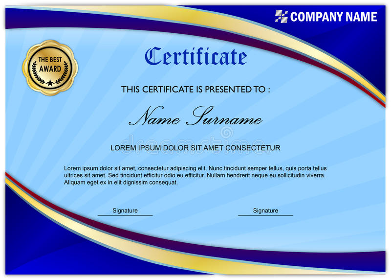 Moderne Zertifikat-/Diplom-Preis-Schablone, blaues Gold vektor abbildung