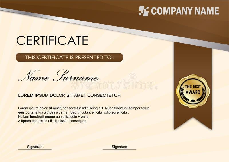 Moderne Zertifikat-/Diplom-Preis-Schablone, Brown lizenzfreie abbildung