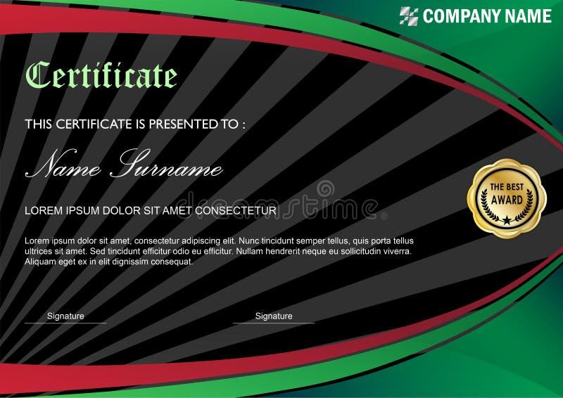 Moderne Zertifikat-/Diplom-Preis-Schablone, grünes Rot vektor abbildung