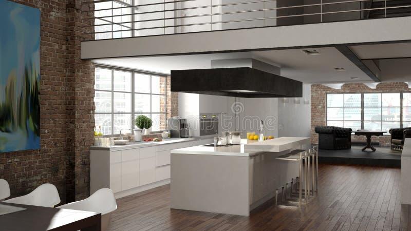 Moderne zolder met een keuken het 3d teruggeven vector illustratie