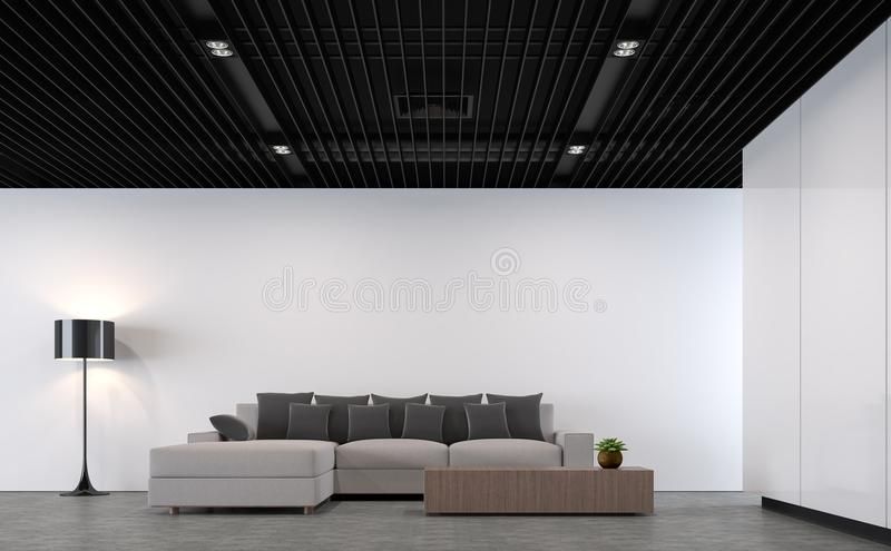 Moderne zolderwoonkamer met het zwarte 3d teruggevende beeld van het staalplafond stock illustratie