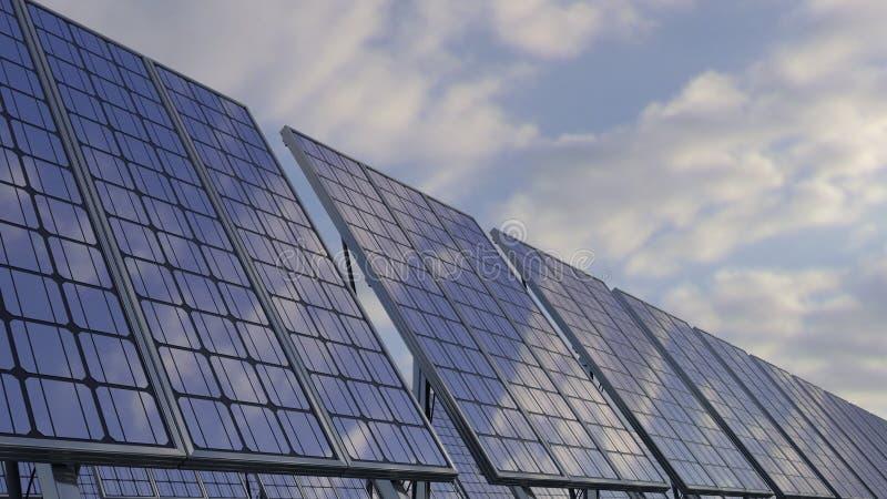 Moderne zonnepanelen die op bewolkte hemel wijzen Vernieuwbare ecologic energiegeneratie het 3d teruggeven royalty-vrije illustratie