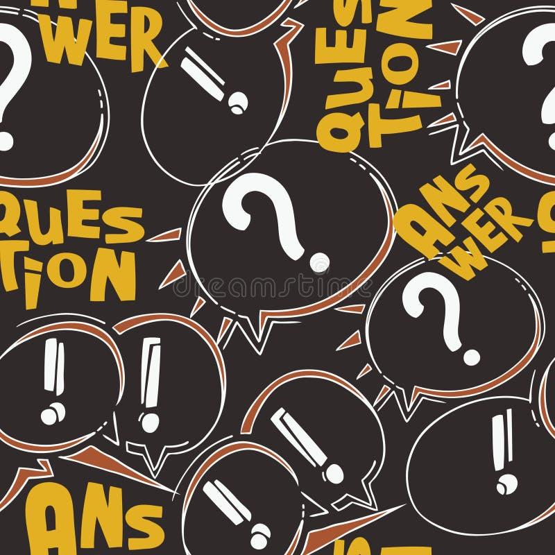 Moderne zwart-witte vragen en antwoordencarto stock illustratie
