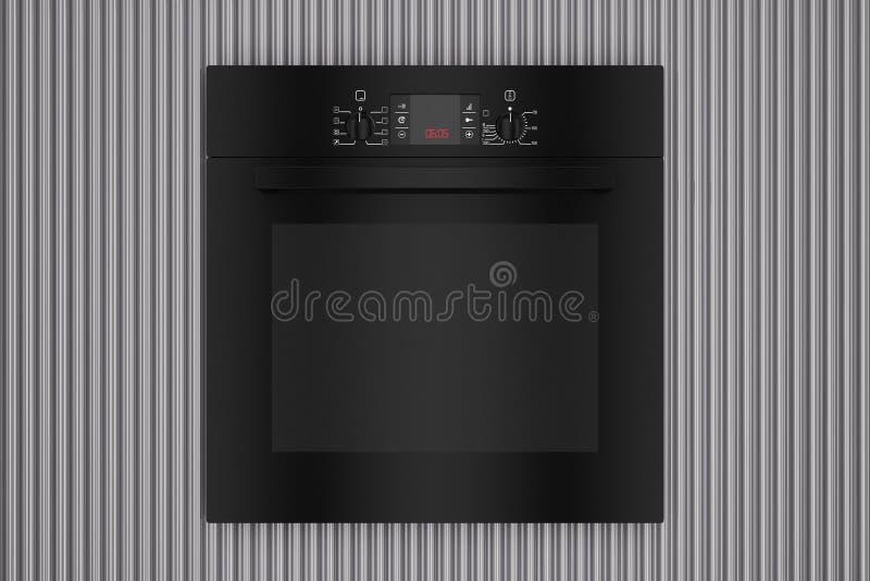 Moderne Zwarte Elektrische Oven voor de Golvende Achtergrond van Metaalchrome het 3d teruggeven vector illustratie