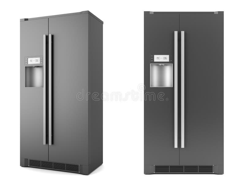 Moderne zwarte ijskast die op wit wordt geïsoleerde stock illustratie