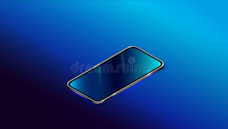 Moderne zwarte smartphone die op donkerblauwe achtergrond in perspectiefmening wordt geïsoleerd Realistisch isometrisch nieuw sma vector illustratie