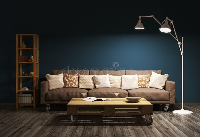 Moderner Abendinnenraum des Wohnzimmers 3d überträgt lizenzfreie abbildung
