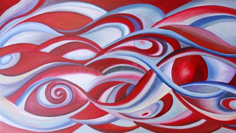 Moderner abstrakter Anstrich in Rotem und in Blauem. stock abbildung