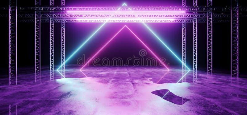 Moderner abstrakter futuristischer Stadiums-Bau Sci FI mit Neon G lizenzfreie abbildung
