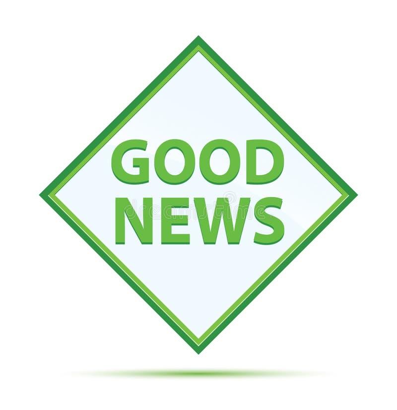 Moderner abstrakter grüner Diamantknopf der guten Nachrichten vektor abbildung