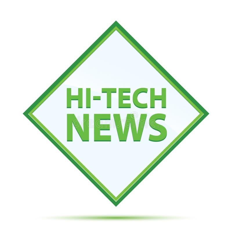 Moderner abstrakter grüner Diamantknopf der High-Techen Nachrichten vektor abbildung