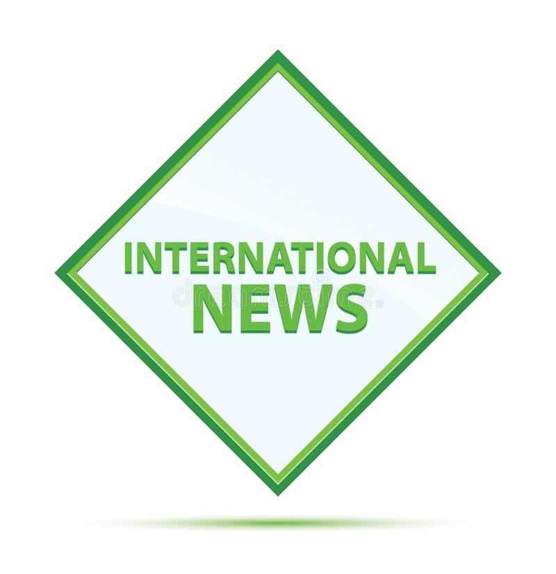 Moderner abstrakter grüner Diamantknopf der internationalen Nachrichten lizenzfreie abbildung