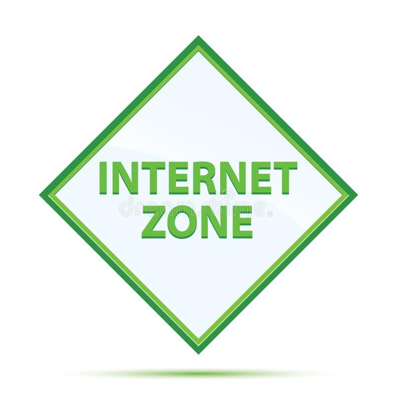 Moderner abstrakter grüner Diamantknopf der Internet-Zone lizenzfreie abbildung