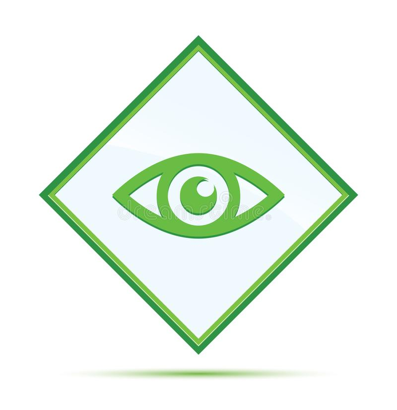 Moderner abstrakter gr?ner Diamantknopf der Augenikone stock abbildung