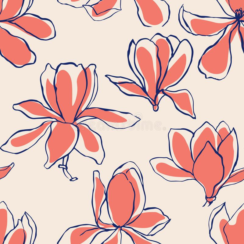 Moderner abstrakter Magnolienblumenhintergrund Nahtloses mit Blumenmuster Skandinavische Farbpastellpalette Textilzusammensetzung vektor abbildung
