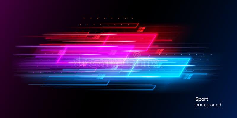 Moderner abstrakter Neonsporthintergrund oder -collage stock abbildung