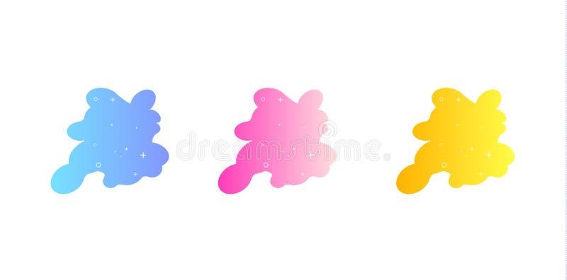 Moderner abstrakter Vektorfahnensatz Flache geometrische fl?ssige Form mit verschiedenen Farben Moderne Vektorschablone, Schablon vektor abbildung