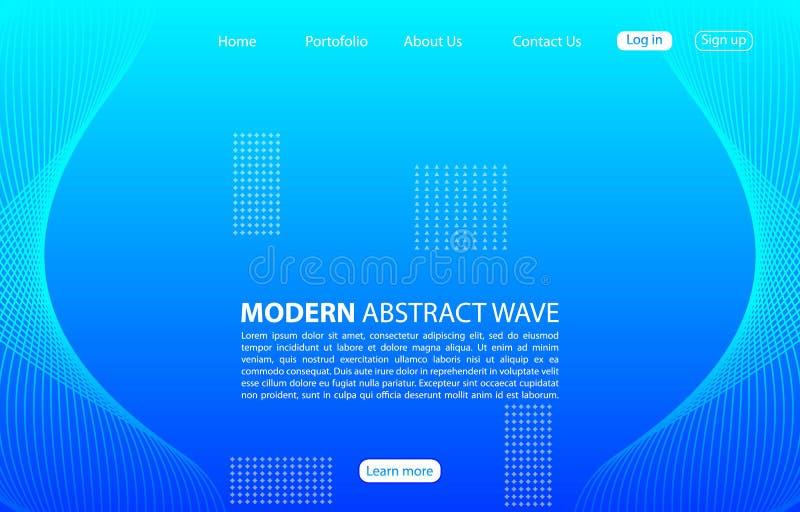 Moderner abstrakter Wellenhintergrund Landungsseitenzusammenfassungs-Wellenentwurf Blaue Schablonenapps und -website vektor abbildung