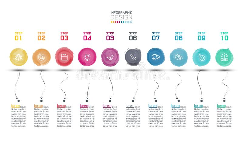 Moderner Aquarellaufkleber infographic auf Vektorkunst lizenzfreie abbildung