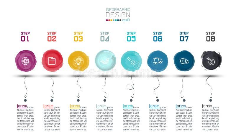 Moderner Aquarellaufkleber infographic auf Vektorkunst stock abbildung
