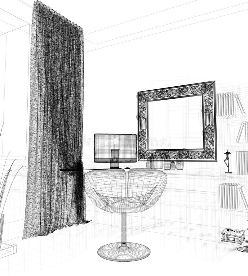 Moderner Arbeitsplatz im Hauptinnenraum, Wiedergabe 3d vektor abbildung