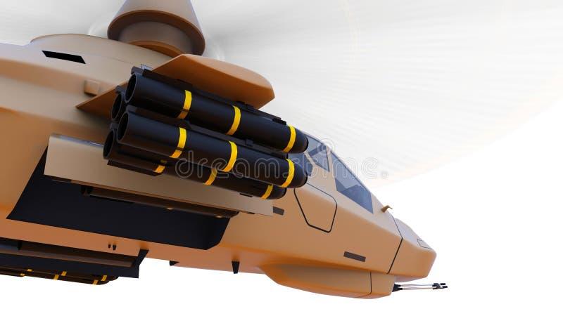 Moderner Armeehubschrauber im Flug mit einer vollen Ergänzung von Waffen auf einem weißen Hintergrund Abbildung 3D stockfoto