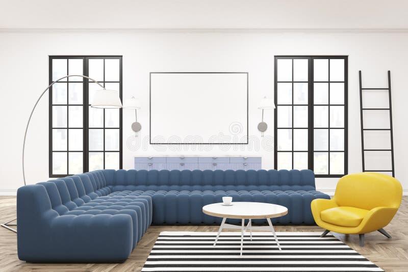Download Moderner Aufenthaltsrauminnenraum, Plakat, Blaue Sofas Stock  Abbildung   Illustration Von Leer, Möbel