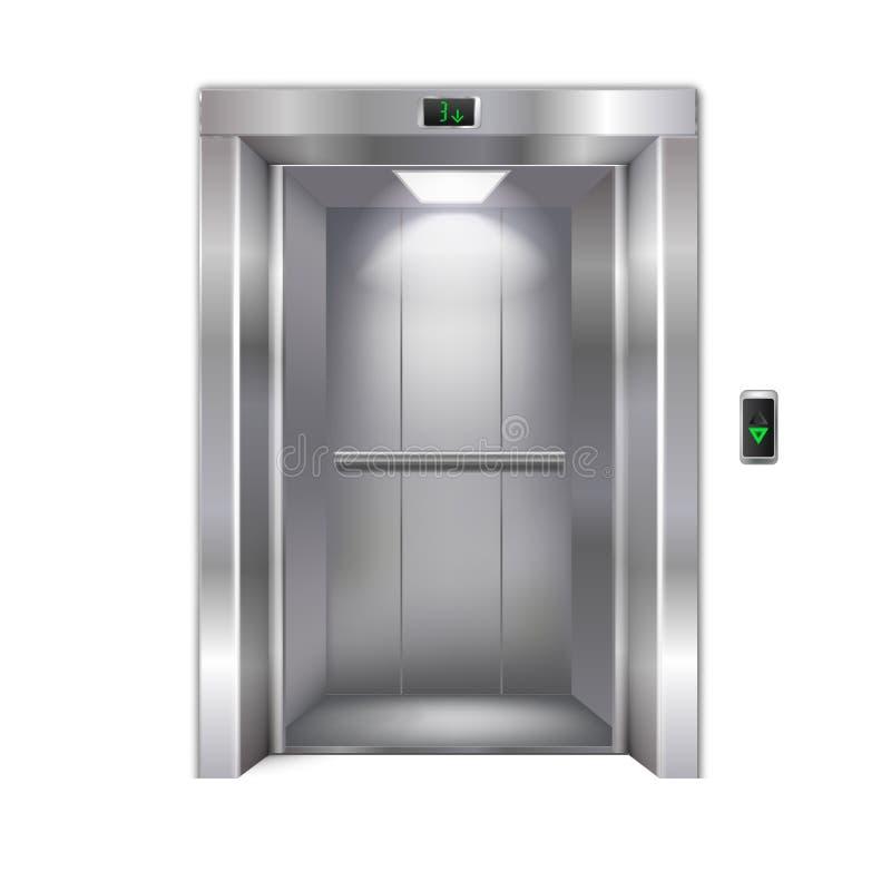 Moderner Aufzug auf weißem Hintergrund stock abbildung