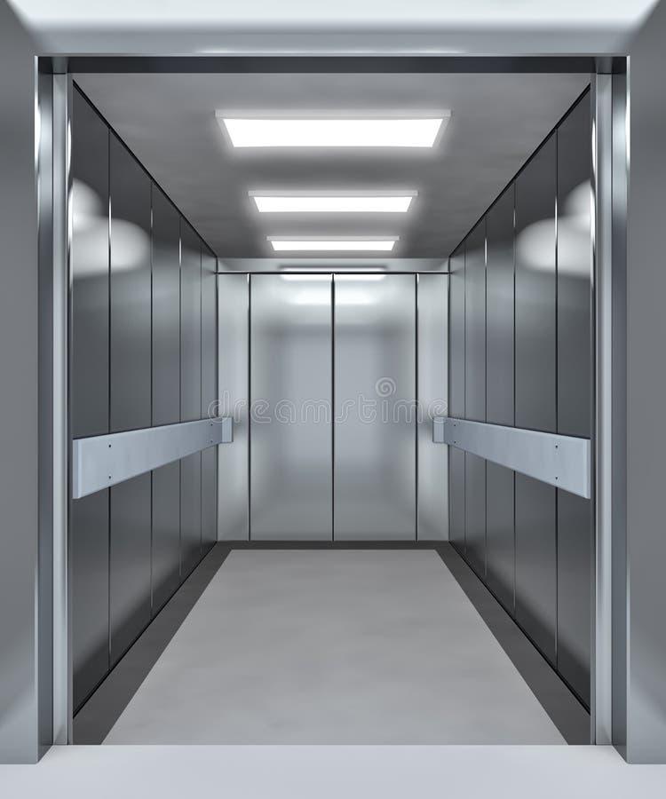 Moderner Aufzug mit geöffneten Türen vektor abbildung