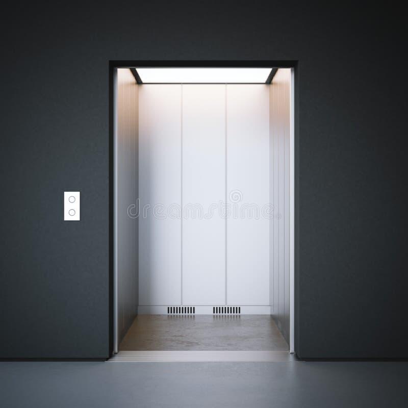 Moderner Aufzug mit geschlossenen Metalltüren Wiedergabe 3d lizenzfreie abbildung