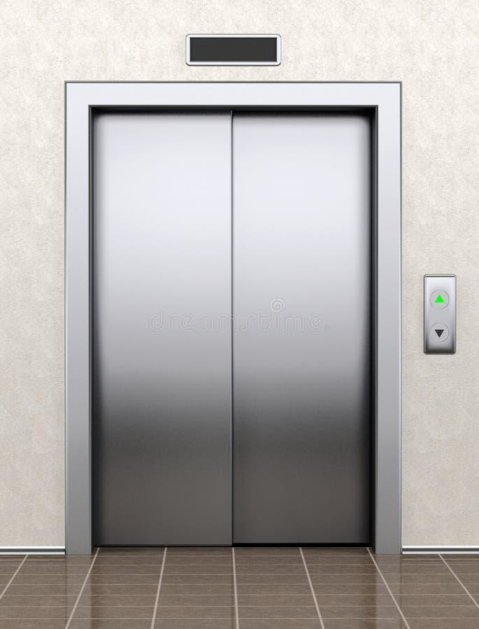 Moderner Aufzug mit geschlossenen Türen stock abbildung