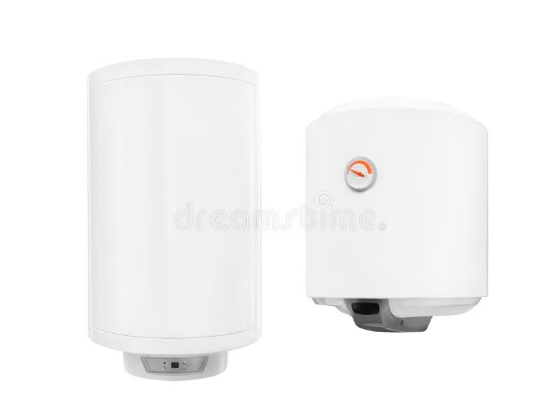 Moderner automatischer elektrischer zwei Warmwasserbereiterkessel lokalisiert auf einem weißen Hintergrund lizenzfreie stockfotografie