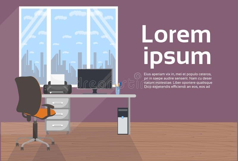 Moderner Büro-Innenraum kein Leute-Schreibtisch mit Computer und Stuhl, leerer Arbeitsplatz-Hintergrund stock abbildung