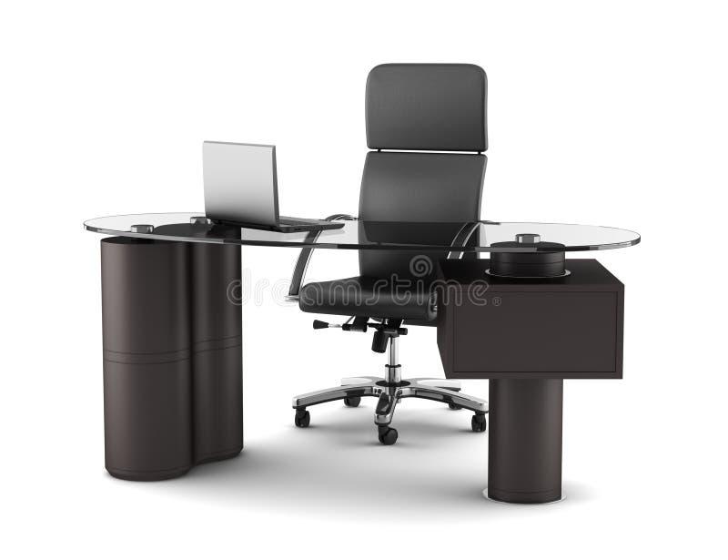 Moderner Büroarbeitsplatz getrennt auf Weiß lizenzfreie abbildung