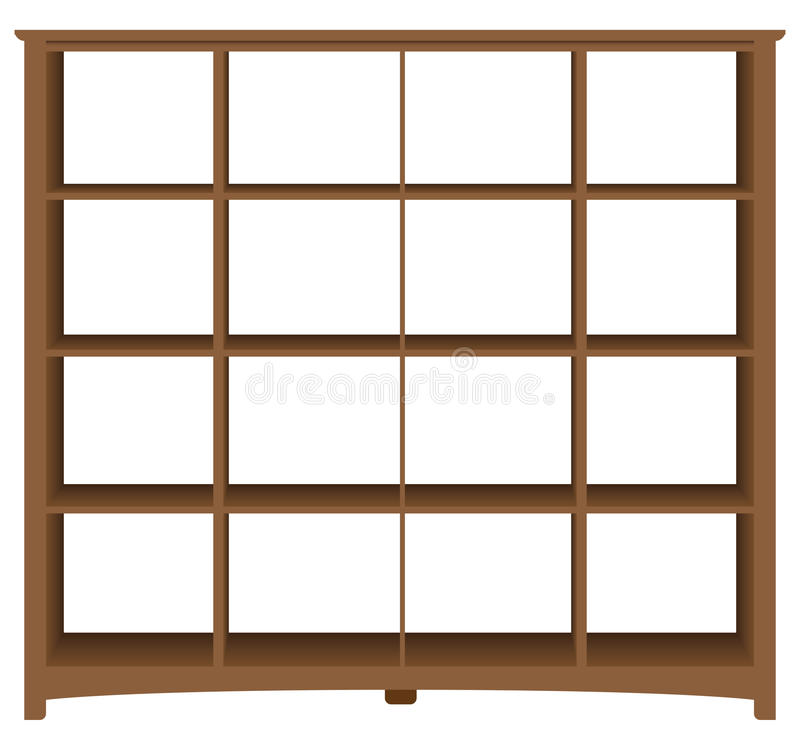 Moderner Bürobücherschrank mit quadratischen Zellen lizenzfreie abbildung